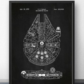 Star Wars Millennium Falcon x-wing Blueprint Wall Art Paint Prints Canvas Art Poster Oil Paintings For Living Room No Frame