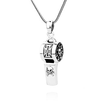 Skull Sterling Silver Blow able Whistle Pendant Necklace
