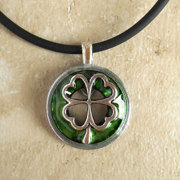 Shamrock Necklace: Mens Jewelry - Mens Necklace - Lucky Jewelry - Boyfriend Gift - Four Leaf Clover - St Patricks Day - Irish Jewelry