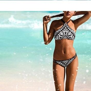 Factory outlets shoulders with black and white striped swimsuit sexy bikini women swimsuit professional NAYOOTON D020