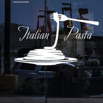 Window Sign Wall Stickers Vinyl Decal Italian Pasta Restaurant Italy For Kitchen Unique Gift (z1724w)