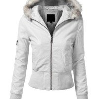 J.TOMSON Womens Fur-Lined Hood Jacket With Zippers