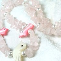 Rose quartz Nuggets and Mother of Pearl Carved Birds Necklace