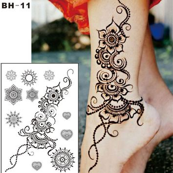 #BH-11  Beautiful Flower Black Henna Temporary Tattoo For Right Foot  Inspired Body Sticker