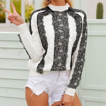 October Surprise Lace Trim Long Sleeve Cable Pattern Round Neck Pullover Sweater - 3 Colors Available