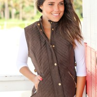 Chocolate Quilted Vest with Fur Lining