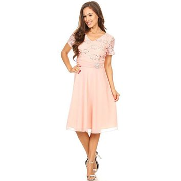 Celavie 6320 - Knee Length Blush Dress With Short Sleeves Lace Bodice