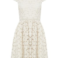 alice + olivia | JAYNA LACE OPEN BACK FLARE DRESS