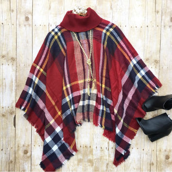 Burgundy Plaid Poncho