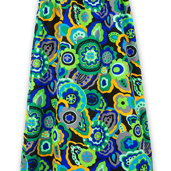 A Shape Skirt 60s Vintage 1960s Blue Green Floral Pattern Maxi Long