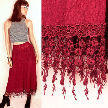 vintage sheer lace skirt // crochet fringe