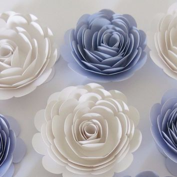 """White and Lilac Nursery Decor, 6 Paper Roses, Reusable Baby Shower Decorations, Lavender Bridal bouquet flowers, 3"""" rosette buds"""