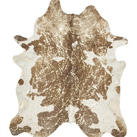 Black, Brown, White, and Gold Metallic Brazilian Cowhide Rug