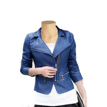Blue slim fit double breasted leather jacket