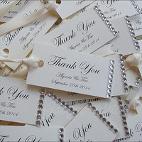 Personalized Wedding Gift Tags, Silver Rhinestones, Satin Ribbon,  Bridal Shower, Sweet 16 Favor Tag, Wish Tree, Wine Bottle Tag, Set Of 100