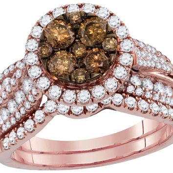 14kt Rose Gold Womens Round Cognac-brown Colored Diamond Bridal Wedding Engagement Ring Band Set