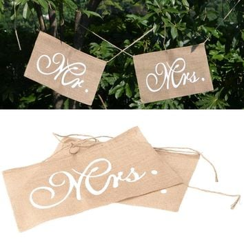 2pc Rustic Wedding Banners Signs Mr and Mrs Chair Sign Vintage Wedding Decoration Burlap Chair Sign for Groom Bride rustic