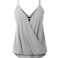 Womens Soft Draped Low V Neck Flowy Sleeveless Blouse Top with Stretch