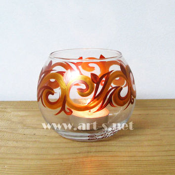 Candle Holder Hand painted Glass sphere Tea light holder Home decor Gold and Copper Wedding candle holder Mother's day gift Birthday gift