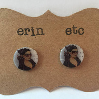 Handmade Plastic Fandom Earrings - Comic Pinup - Catwoman