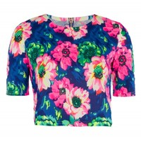 Neon Royal Blue and Pink Floral Print Crop Top | Tops | Desire
