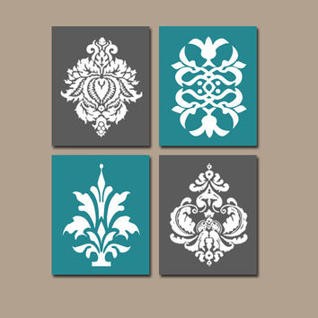 DAMASK Wall Art Teal Charcoal Bedroom Wall Art Bathroom Wall Art KITCHEN Wall Art Bedroom Pictures Flower Prints Set of 4 Home Decor