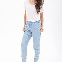 LOVE 21 Woven Chambray Joggers