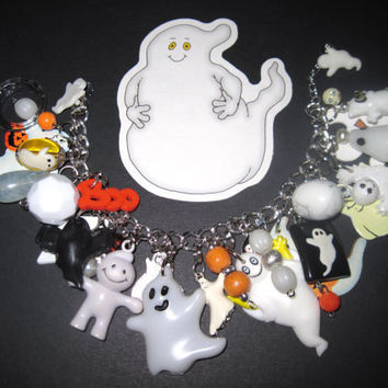 Ghosts Halloween Charm Bracelet Eclectic Vintage Style Beads Charms & Trinkets Spooky Cute Fun Statement Piece