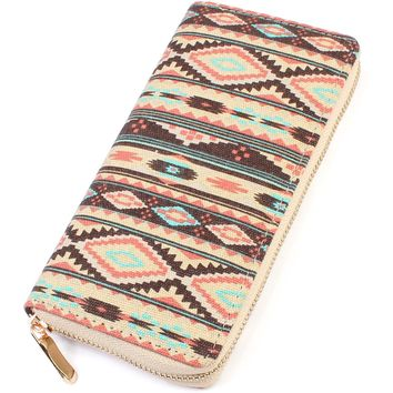 Chevron Print Zipper Wallet