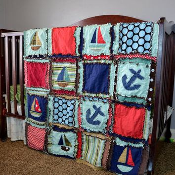 RAG QUILT, Vintage Boats in Red, Green, and Blue, Crib Size for Baby Boy, Made to Order