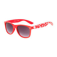 Canada Day Red Sunglasses with White Maple Leaf Print Arms