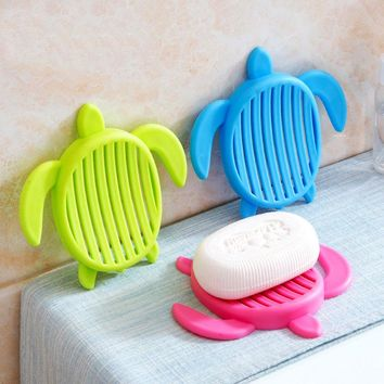 Lovely Bathroom Plastic Turtle Soap Dishes Draining Soap Saver Holders Box for Home Kitchen Washroom Organization Soap Tray Rack
