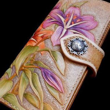 Handcraft vintage hand painting carved lily flower leather long wallet for women