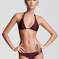 PilyQ Sangria Braided Triangle Bikini Top & Sangria Braided Full Bottom | Bloomingdale's
