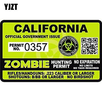 YJZT 16.8CM*10.2CM RESIDENT EVIL ZOMBIE California Zombie Hunting License Car Window Reflective Car Sticker C1-7109