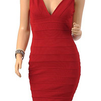 Claret V-Neck Backless Bandage Mini Dress