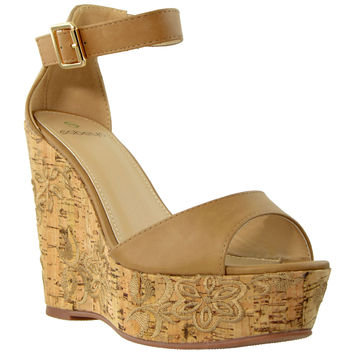 Womens Platform Wedge Embroidered Cork Sandals Tan