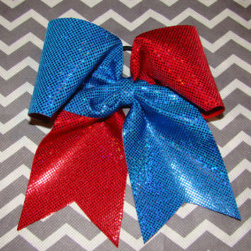 Blue and Red Criss Cross Cheer Bow