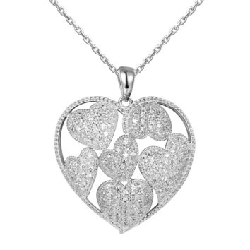 Hearts in Hearts Puffed Silver Heart Pendant Valentine's Set