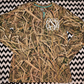 Duck Blind Camo Monogram Long Sleeve Shirt ~ Camouflage Tee shirt ~ Monogrammed ~ T shirt ~ Pocket Location ~Camoflauge