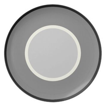 Ivory & Grey Rimmed Round Dinner Plate
