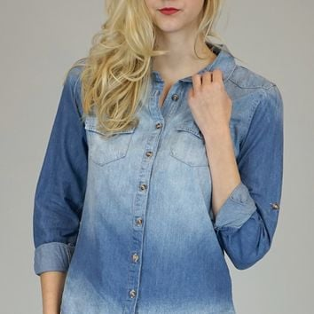 Jenny Medium Wash Chambray Button Down Blouse