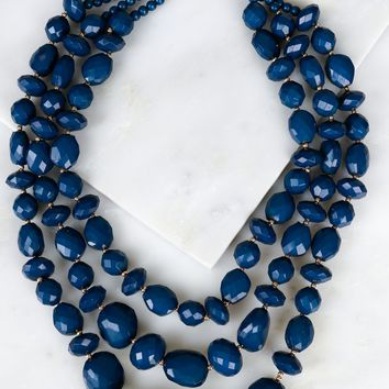 Multi Layered Geometric Necklace Navy