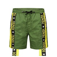 Fendi men's summer sports fashion beach shorts Green