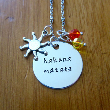 "Disney's ""Lion King"" Inspired Necklace. Hakuna Matata. Silver colored, Swarovski crystals, for women or girls."