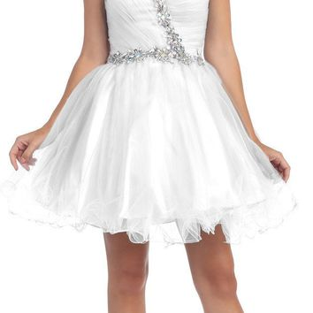 Poofy Short Homecoming Dress White Tulle Strapless Rhinestones