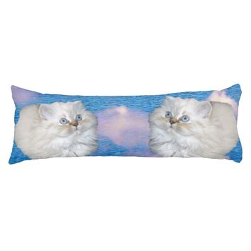 White Cat Body Pillow