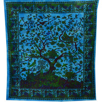 India Tree Of Life Hippie Hippy Indian Tapestry Wall Hanging Throw Cotton Fabric Bed Cover Bohemian Tapestry Ethnic Decorative Wall Art