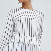 Miss Selfridge Double Ruffle Peplum Striped Blouse at asos.com