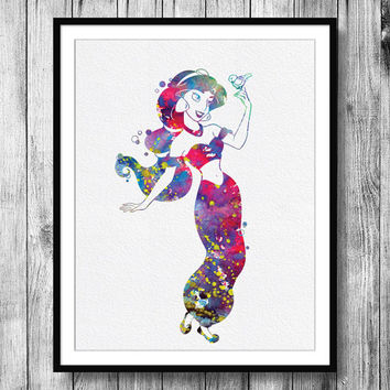 Instant Download Jasmine Disney Princess Watercolor Art Digital Printable PNG JPEG Wall Art For Girls Art Clip Art Wall Decor
